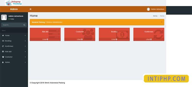 Booking alat-alat outdor pendaki atau camping dengan php native 2
