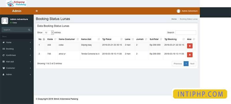 Booking alat-alat outdor pendaki atau camping dengan php native 3