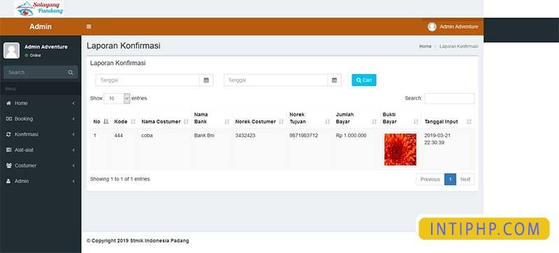 Booking alat-alat outdor pendaki atau camping dengan php native 4