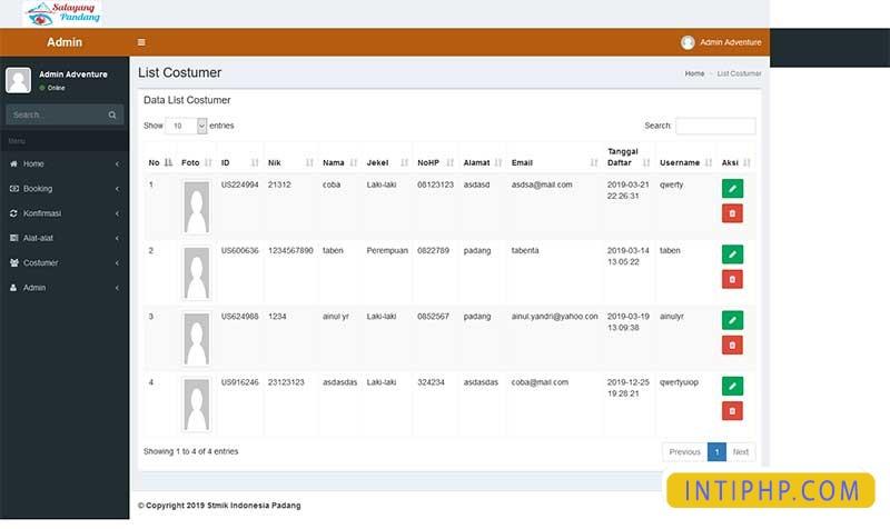 Booking alat-alat outdor pendaki atau camping dengan php native 5