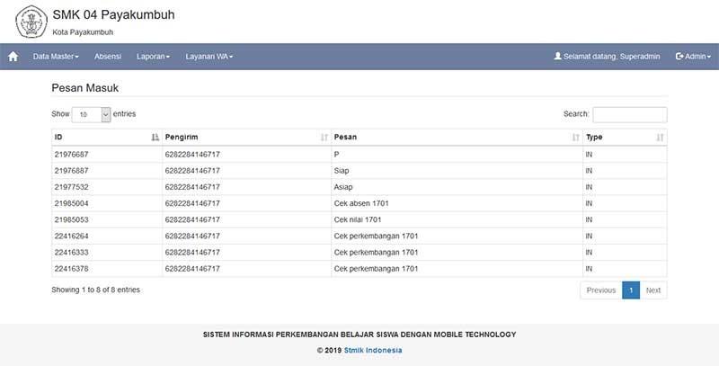 SIstem informasi perkembangan siswa dengan notifikasi whatapp dan php mysql
