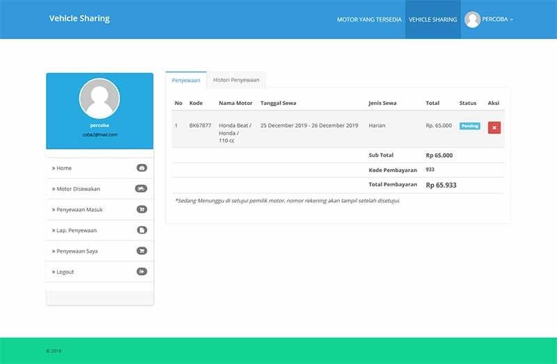 Aplikasi berbasis web penyewaan motor dengan php mysqli 5