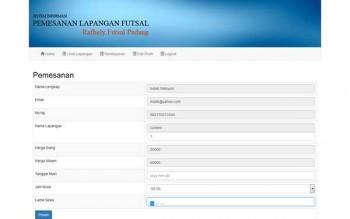 Program Pembookingan Lapangan Futsal Php Mysql
