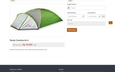 Booking Alat-alat Outdor Pendaki Atau Camping Dengan Php Native