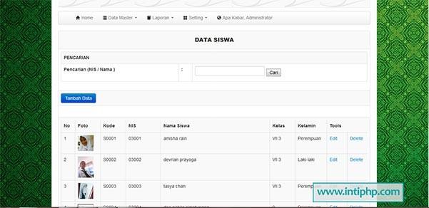 Project Aplikasi Pengolahan Data Siswa Php Mysql