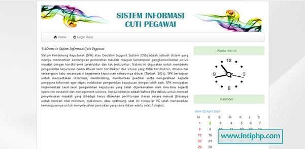 Project Sistem Informasi Cuti Pegawai Berbasis Web Gratis