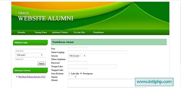 Project Website Alumni Php Dan Mysql Gratis Inti Php